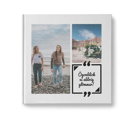fotobok med kvadratiskt citat